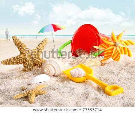 A beach with an umbrella and toys Stock photo © bluering