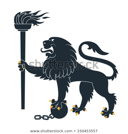 black lion with a torch illustration stock photo © genestro
