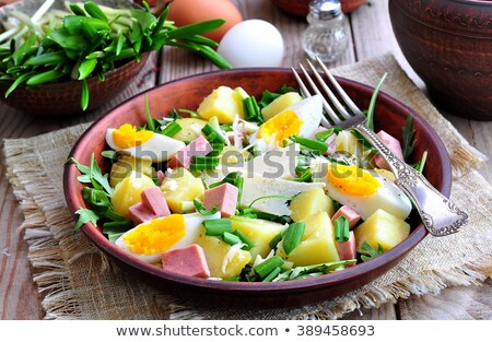 Ham aardappelsalade glas kommen voedsel Stockfoto © Digifoodstock