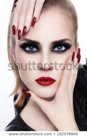 Mooi meisje rokerig ogen rode lippen mooie jonge vrouw Stockfoto © svetography