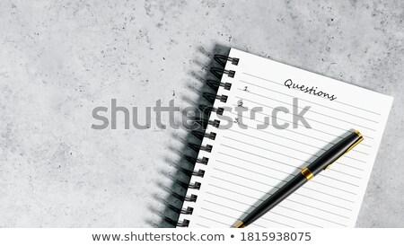 ストックフォト: 質問 · 文字 · 帳 · オフィス · 紙 · 通信
