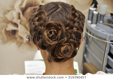 beautiful brunette bride wedding portrait with curly hair style stock photo © victoria_andreas