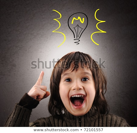 Exellent idea, kid with illustrated bulb above his head Stock photo © zurijeta