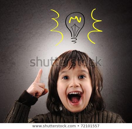 Zdjęcia stock: Exellent Idea Kid With Illustrated Bulb Above His Head
