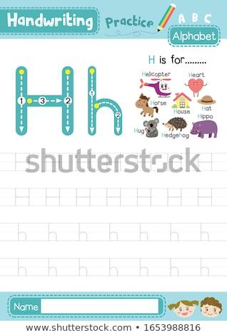 H betű sündisznó illusztráció gyerekek természet gyermek Stock fotó © bluering