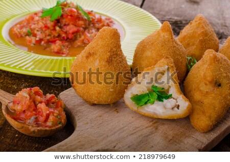Street food żywności posiekane kurczaka mięsa Zdjęcia stock © Peteer