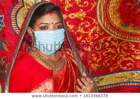 luxurious red mask with a veil Stock photo © blackmoon979