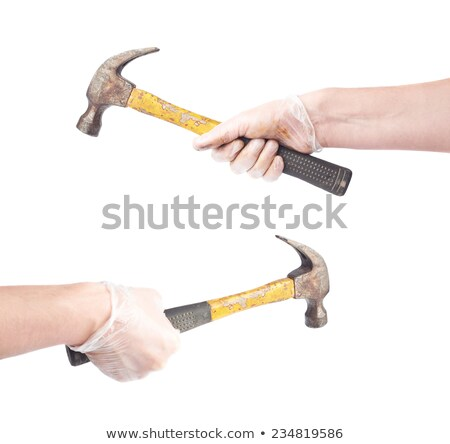 Two hands holding a hammer. isolated over white background stock photo © janssenkruseproducti