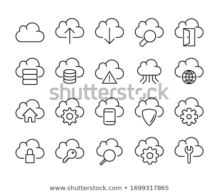 cloud storage icons set outlined thin line design for web and mobile app stock photo © jeksongraphics