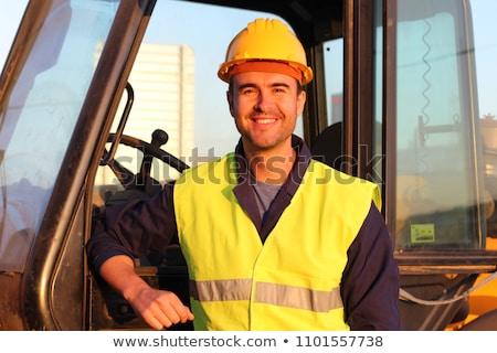 Férfi vezetés citromsárga buldózer illusztráció háttér Stock fotó © bluering