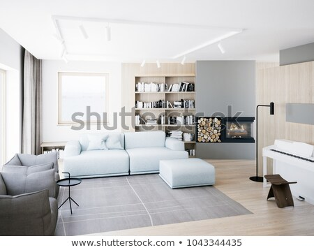 Room with fireplace and bookshelves Stock photo © bluering
