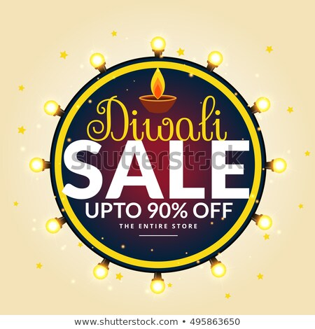 diwali festival sale banner with light bulbs in circle stock photo © sarts