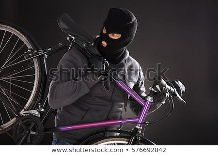 bicicleta · ladrón · ocupado · bloqueo · portátil · manos - foto stock © andreypopov