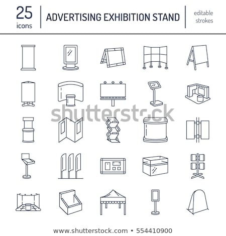 Advertising exhibition banner stands, display line icons. Brochure holders, pop up boards, bow flag, stock photo © Nadiinko