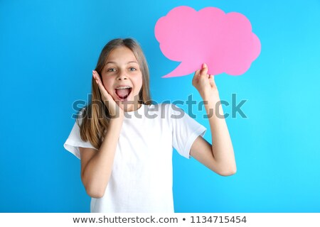 Paper teeth blue background stock photo © Tefi