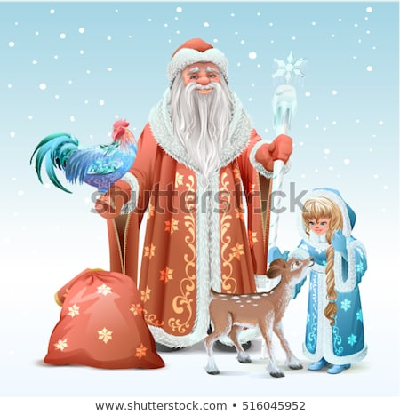 Russian Father Frost, Snow Maiden, blue rooster symbol 2017 and fawn Stock photo © orensila