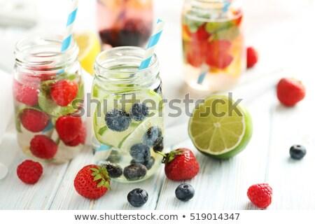saudável · caseiro · limonada · coquetel · pepino · manjericão - foto stock © yatsenko