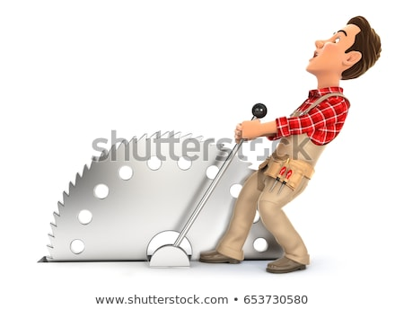 3d handyman activating circular saw stock photo © 3dmask