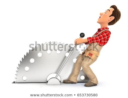 Stock photo: 3d handyman activating circular saw