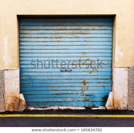 Grunge kék fém garázs ajtó időjárás Stock fotó © stevanovicigor