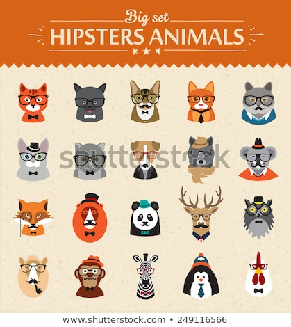 set of flat style vector avatars of animals stock photo © curiosity