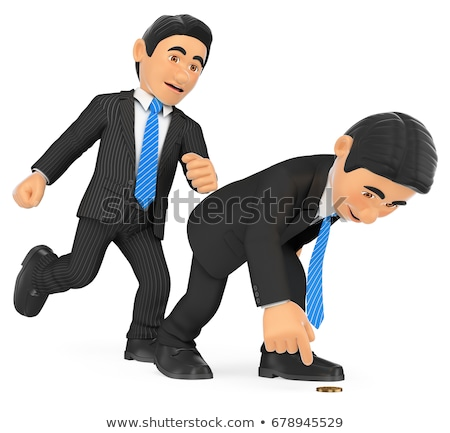 3D Businessman giving a kick in to another who is crouched Stock photo © texelart