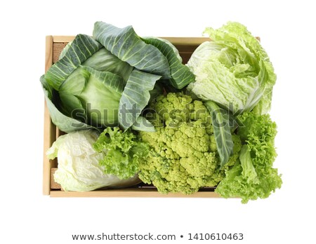 Fresh whole cauliflower on wooden rustic background, top view Stock photo © yelenayemchuk