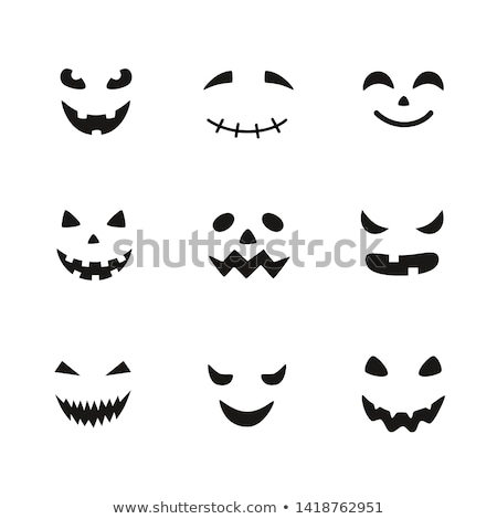 Stock photo:  Scary Halloween pumpkin face vector design, ghost or monster mouth icon with spooky eyes, nose and