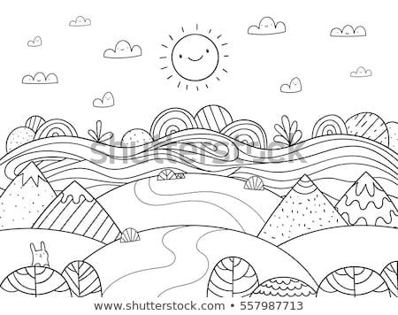 Cute hemel doodle wolk frame communie Stockfoto © zsooofija
