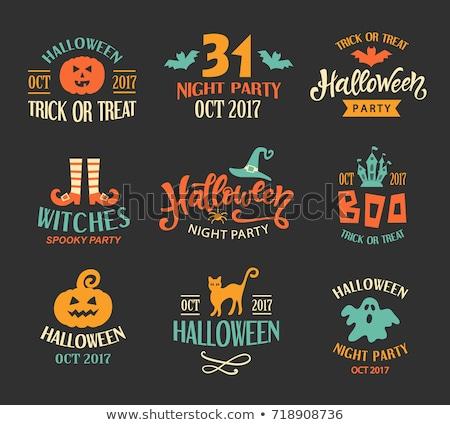 halloween · buli · szöveg · logo · szerkeszthető · vektor - stock fotó © pashabo