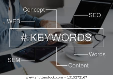 laptop screen with keywords research and analysis concept stock photo © tashatuvango