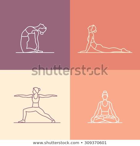 Silhouette fille yoga linéaire style icône Photo stock © Olena