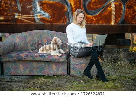 sofá · escrito · té · salón · pensando - foto stock © monkey_business