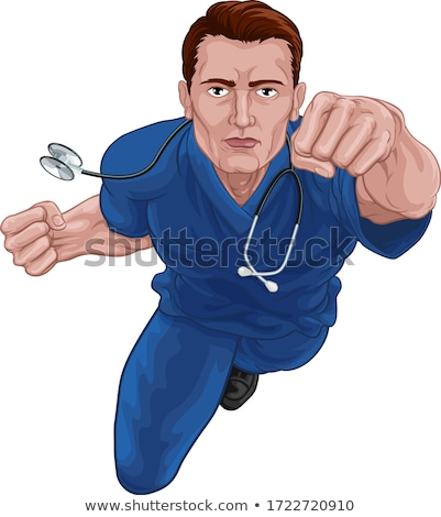 doctor physician with stethoscope flying superhero stock photo © rogistok