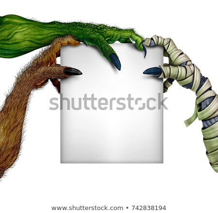 mummy monster holding blank sign stock photo © lightsource