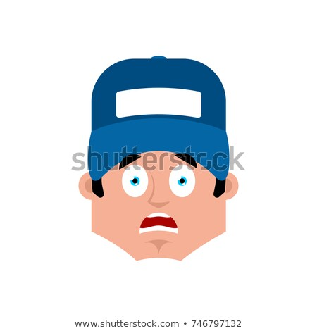 Plumber scared emotion avatar. Fitter fear emoji. Vector illustr Stock photo © popaukropa