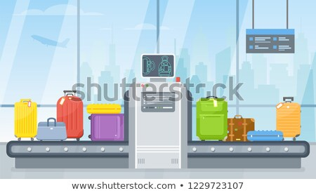 suitcase at x ray airport scanner line icon stock photo © rastudio