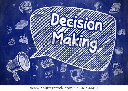 La toma de decisiones Cartoon ilustración azul pizarra negocios Foto stock © tashatuvango