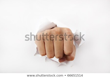 crack a fist punches the paper stock photo © studiostoks