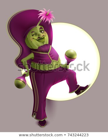 Green cactus male in Mexican national clothes holds maracas Stock photo © orensila