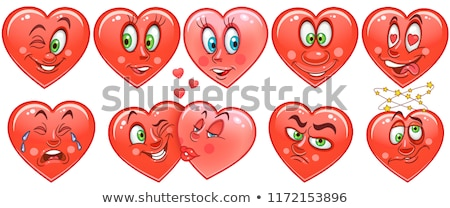 Winking heart sticker, emoji smiling face, emoticon Stock photo © ikopylov