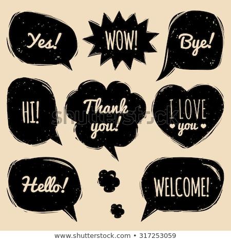 Kézzel rajzolt buborék beszéd fekete firka keret Stock fotó © mcherevan