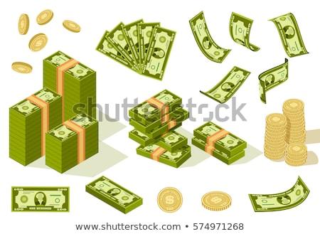 Foto stock: Isométrica · papel · dinheiro · dourado · moeda · ícone