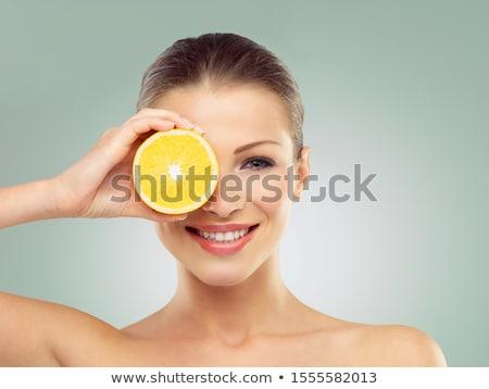 kadın · dilim · turuncu · beyaz - stok fotoğraf © is2