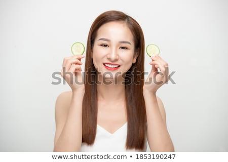 молодые · красивой · Lady · Ломтики · огурца - Сток-фото © deandrobot