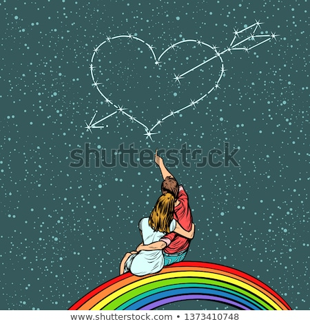 heart pierced by an arrow over a couple in love Stock photo © studiostoks