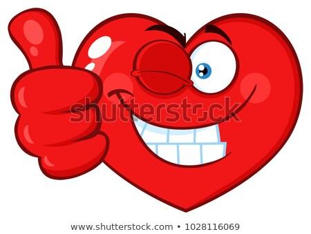 Piros szív rajz arc karakter kacsintás Stock fotó © hittoon