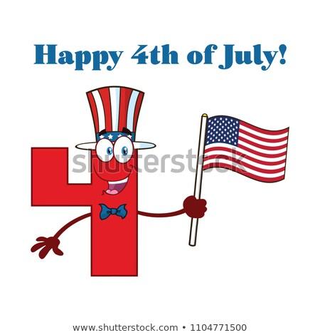 Heureux patriotique nombre quatre drapeau américain mascotte dessinée Photo stock © hittoon