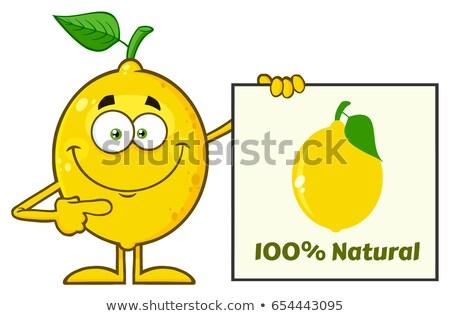 Souriant jaune citron fruits frais feuille verte mascotte dessinée Photo stock © hittoon