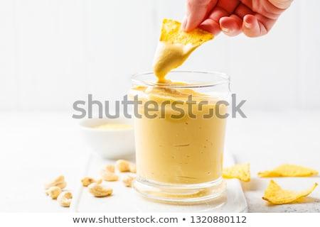 Házi készítésű vegan sajt étel háttér fűszer Stock fotó © M-studio